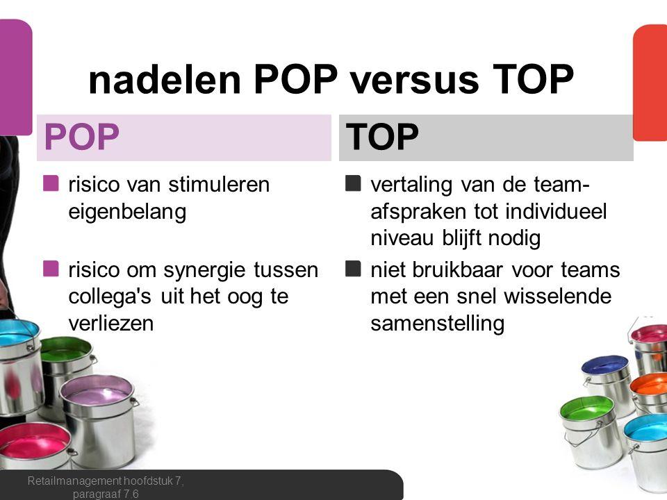 nadelen POP versus TOP POP risico van stimuleren eigenbelang risico om synergie tussen collega's uit het oog te verliezen TOP vertaling van de team- a