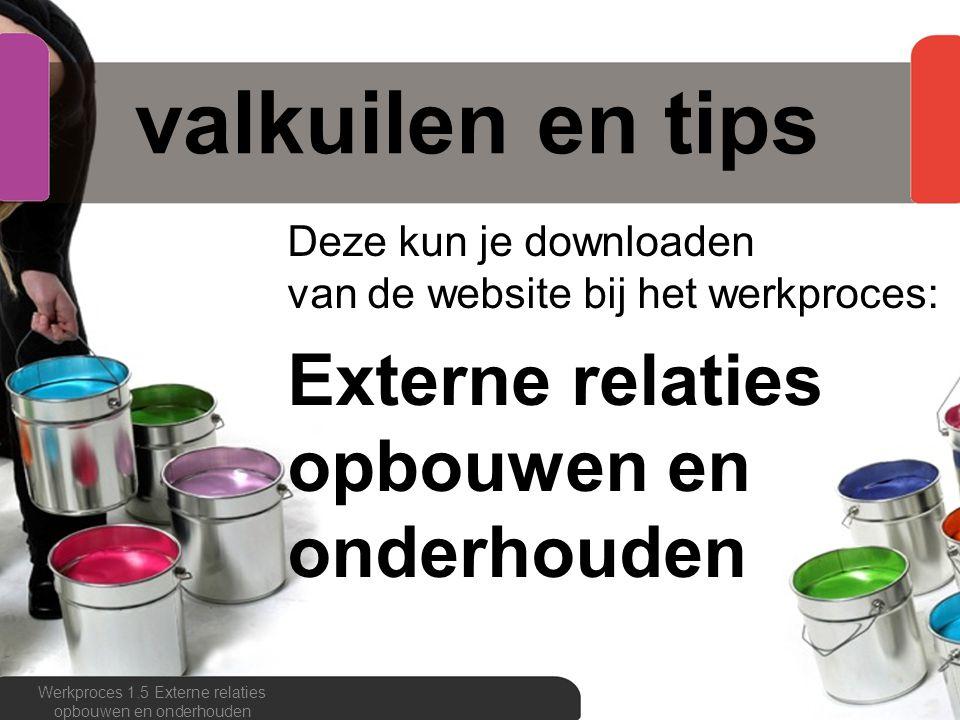 valkuilen en tips Deze kun je downloaden van de website bij het werkproces: Externe relaties opbouwen en onderhouden Werkproces 1.5 Externe relaties o