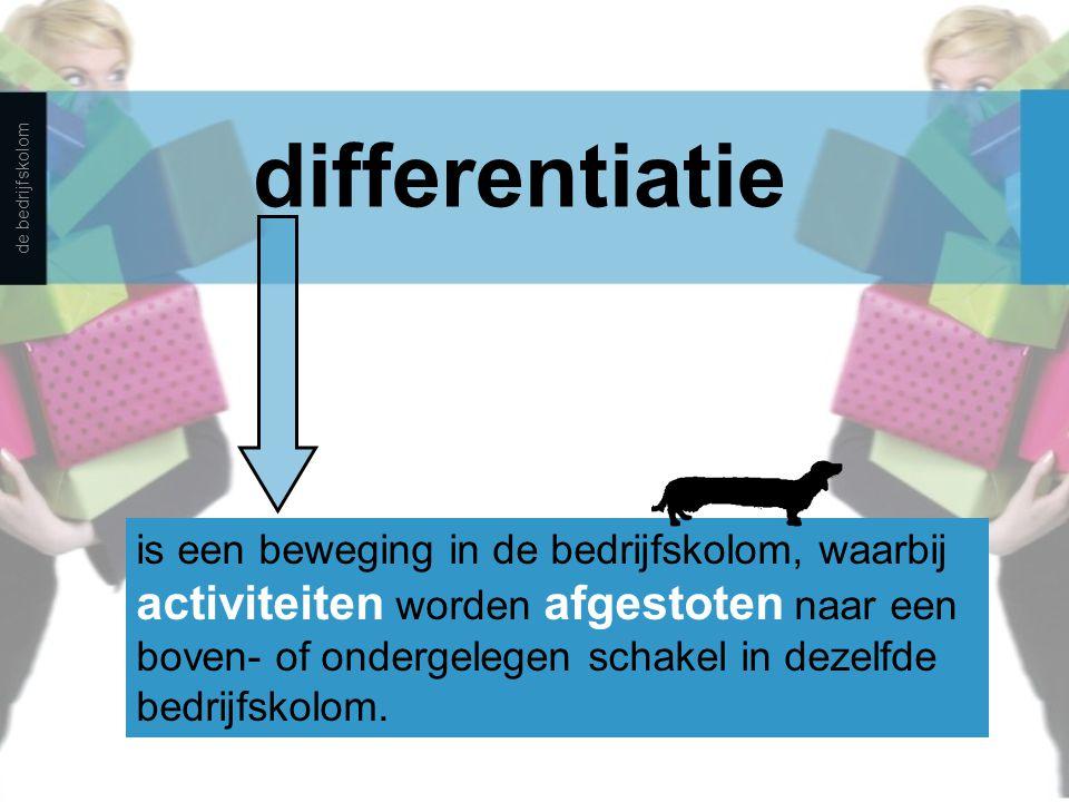 differentiatie is een beweging in de bedrijfskolom, waarbij activiteiten worden afgestoten naar een boven- of ondergelegen schakel in dezelfde bedrijf