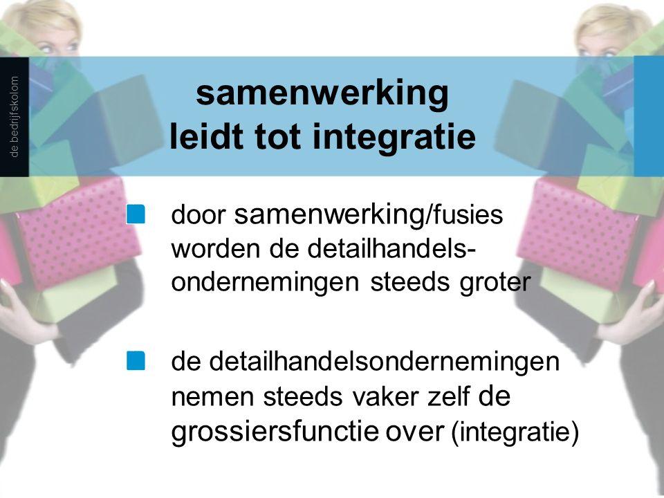 samenwerking leidt tot integratie door samenwerking /fusies worden de detailhandels- ondernemingen steeds groter de detailhandelsondernemingen nemen s