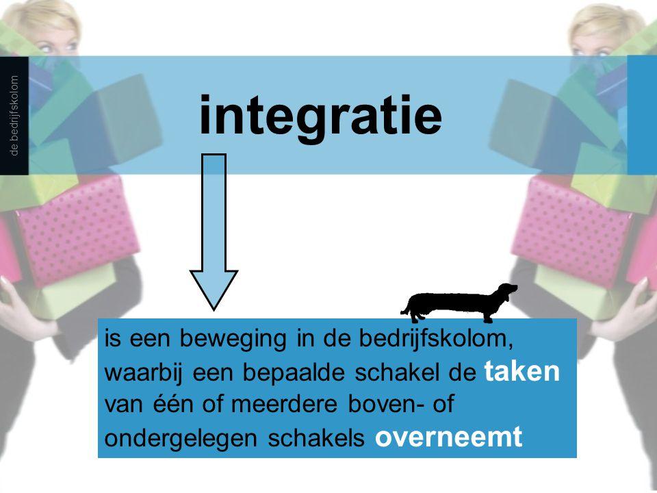 integratie is een beweging in de bedrijfskolom, waarbij een bepaalde schakel de taken van één of meerdere boven- of ondergelegen schakels overneemt de