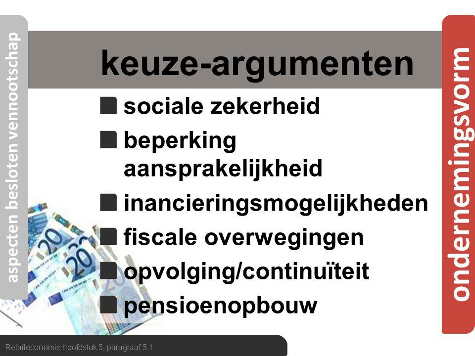 ondernemingsvorm keuze-argumenten sociale zekerheid beperking aansprakelijkheid inancieringsmogelijkheden fiscale overwegingen opvolging/continuïteit