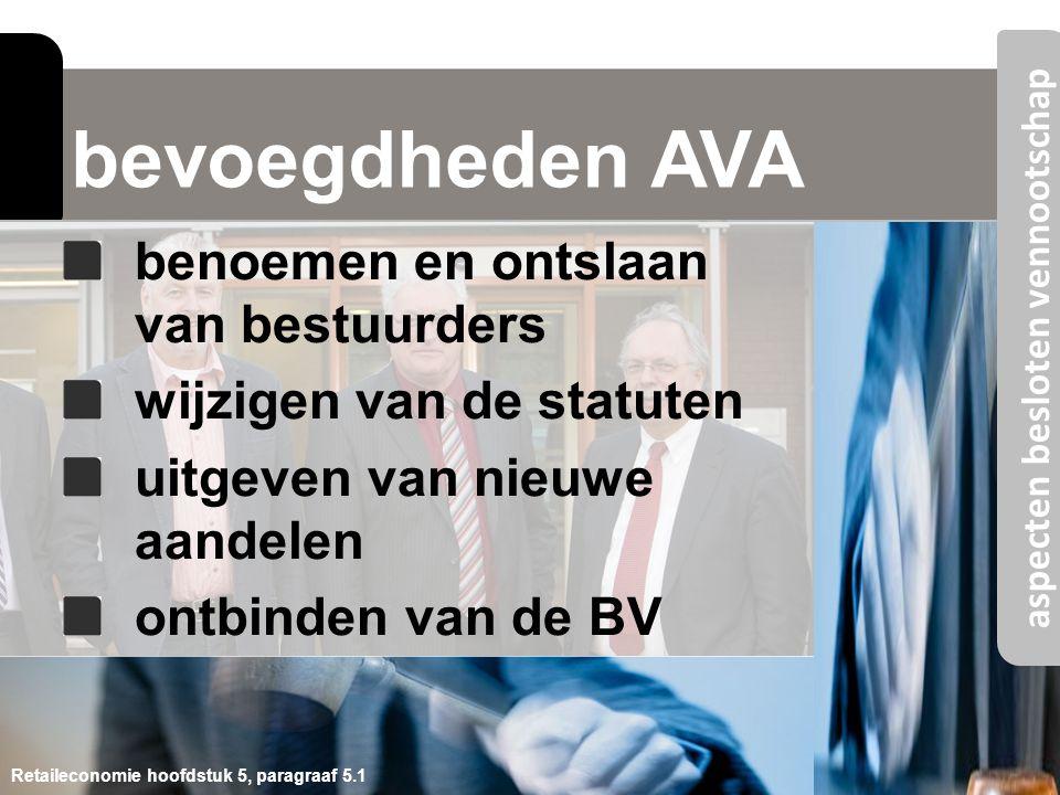 bevoegdheden AVA Retaileconomie hoofdstuk 5, paragraaf 5.1 benoemen en ontslaan van bestuurders wijzigen van de statuten uitgeven van nieuwe aandelen