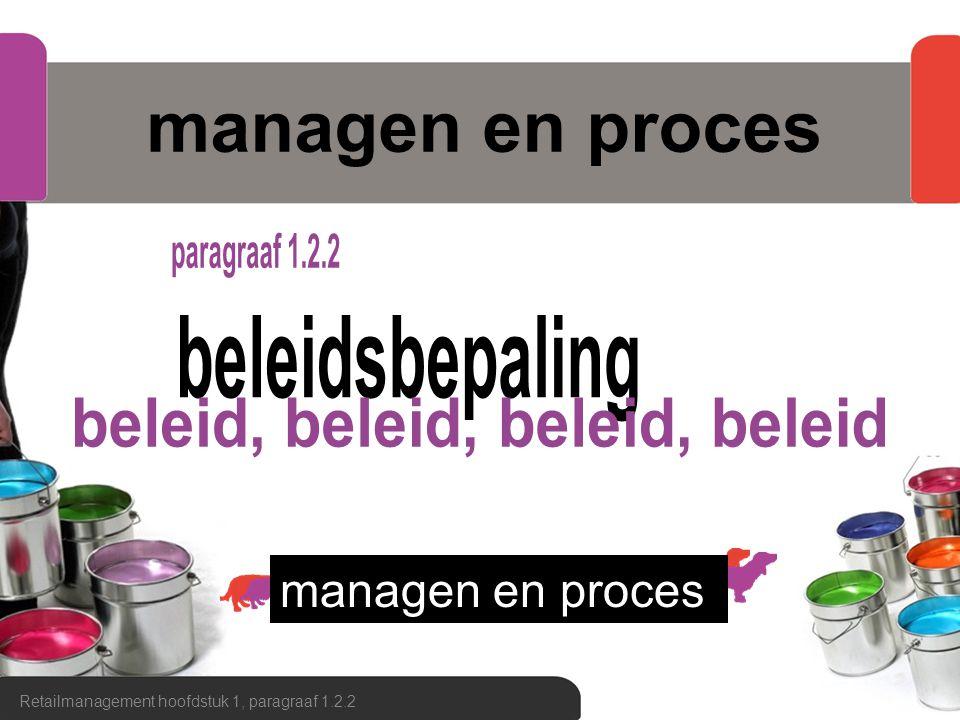 managen en proces Retailmanagement hoofdstuk 1, paragraaf 1.2.2 managen en proces