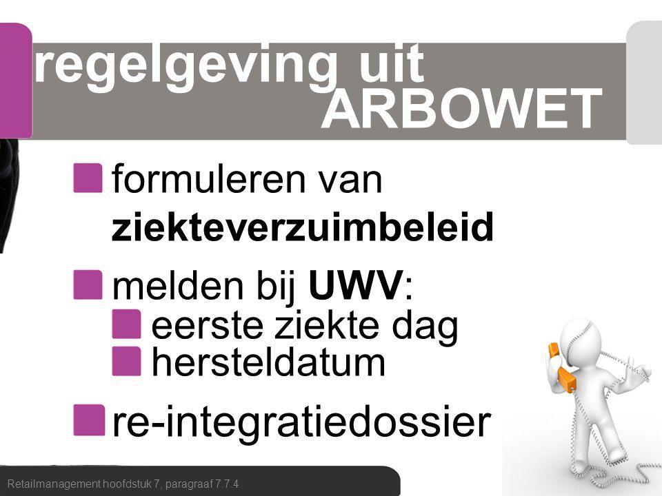 regelgeving uit ARBOWET formuleren van ziekteverzuimbeleid melden bij UWV: eerste ziekte dag hersteldatum re-integratiedossier Retailmanagement hoofds