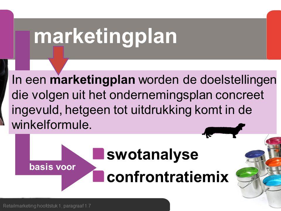 basis voor marketingplan Retailmarketing hoofdstuk 1, paragraaf 1.7 In een marketingplan worden de doelstellingen die volgen uit het ondernemingsplan