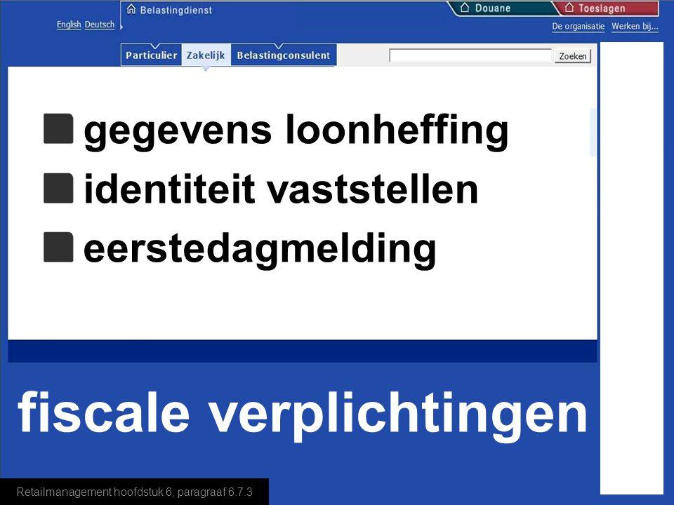 Retailmanagement hoofdstuk 6, paragraaf 6.7.3 fiscale verplichtingen naam en voorletters geboortedatum BSN (Burger Service Nummer) adres, postcode en woonplaats, woonland en regio als hij niet in Nederland woont gegevens loonheffing