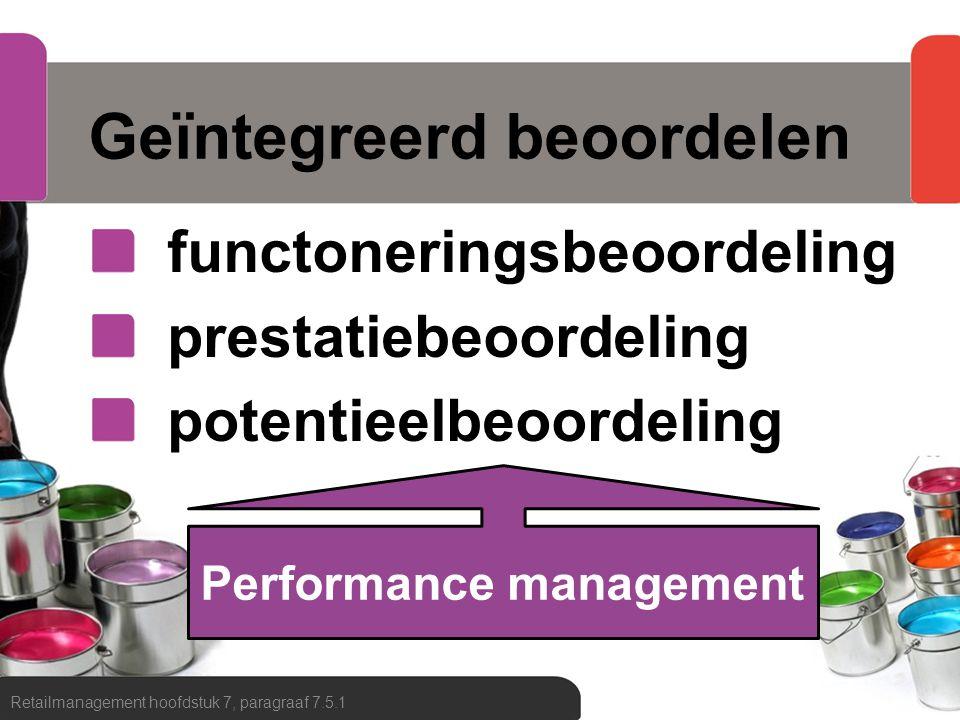 Geïntegreerd beoordelen functoneringsbeoordeling prestatiebeoordeling potentieelbeoordeling Retailmanagement hoofdstuk 7, paragraaf 7.5.1 Performance