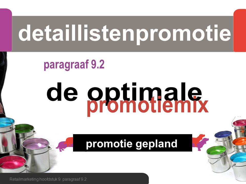 detaillistenpromotie Retailmarketing hoofdstuk 9, paragraaf 9.2 promotie gepland