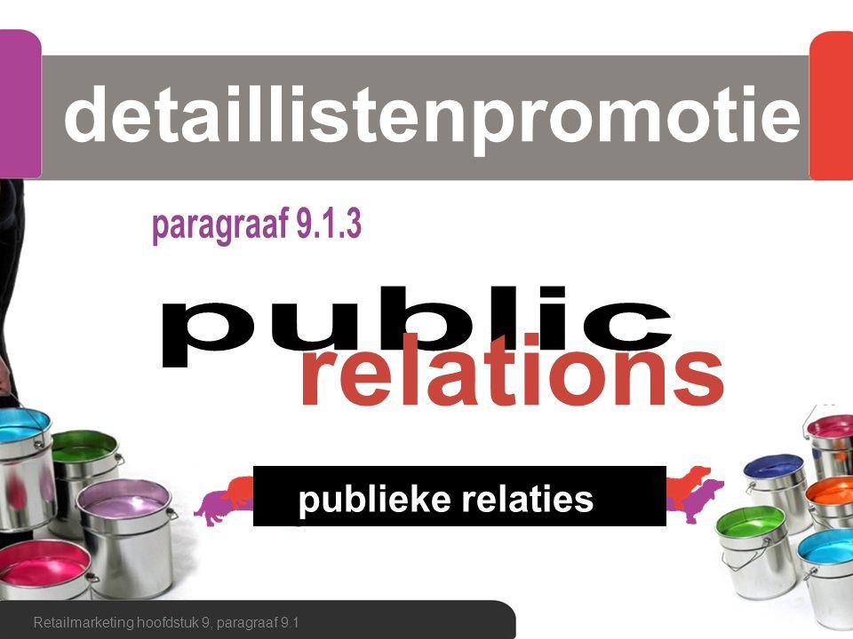 detaillistenpromotie Retailmarketing hoofdstuk 9, paragraaf 9.1 publieke relaties