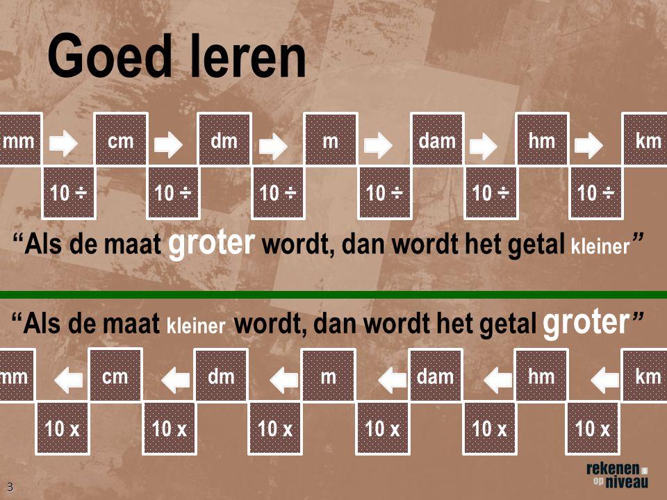 2 Lengtematen km =kilometer=1.000 m (meter) hm =hectometer=100 m (meter) dam =decameter=10 m (meter) m =meter=100 cm (centimeter) dm =decimeter=10 cm