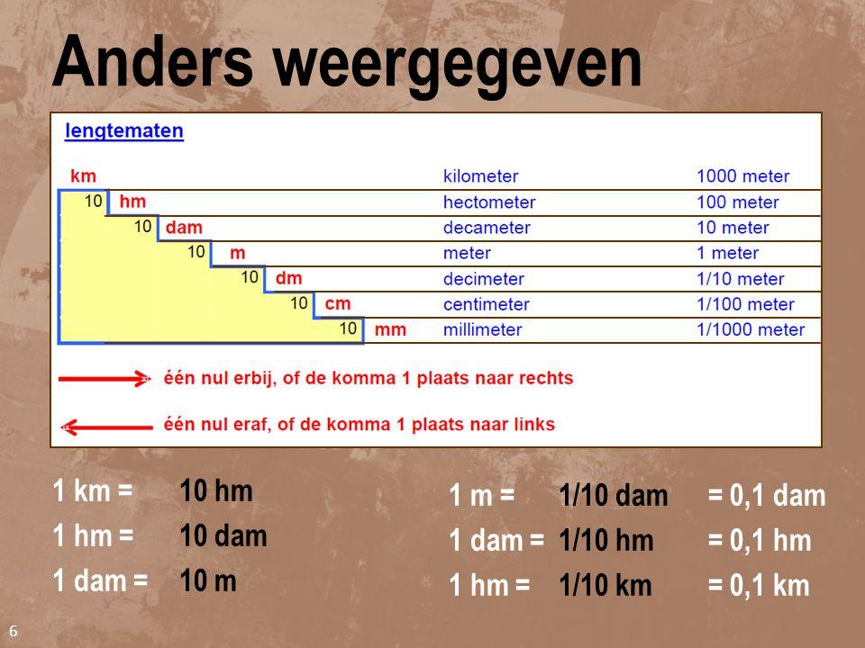 Voorbeeld 5 Vul in: 0,25 km ____ m. Tussen km en m maak je drie stapgroottes van 10 (= 1.000). De lengtemaat gaat omlaag, dan gaat het getal omhoog. D