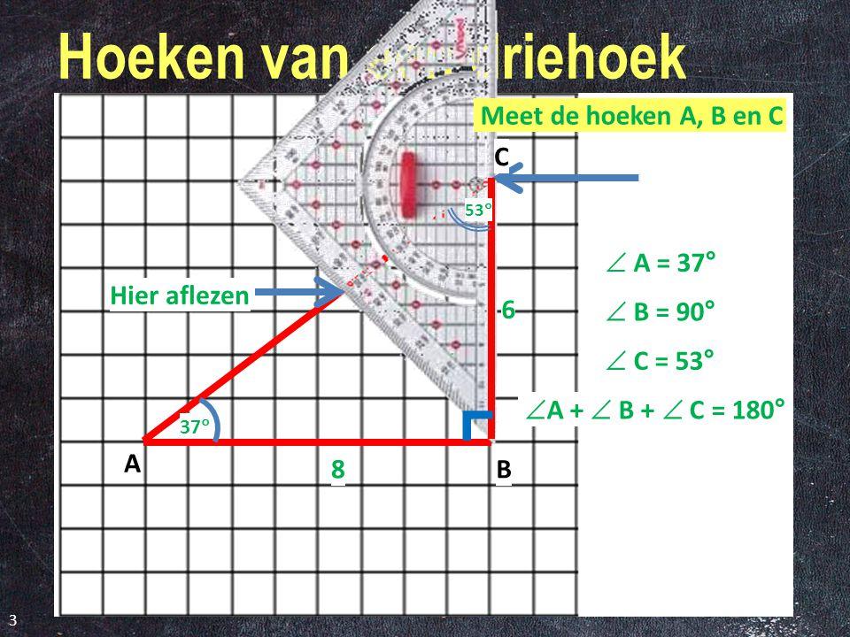Hoeken van een driehoek 3 37  Hier aflezen 6 8 53  A B C  A = 37°  B = 90°  C = 53°  A +  B +  C = 180° ˹ Meet de hoeken A, B en C