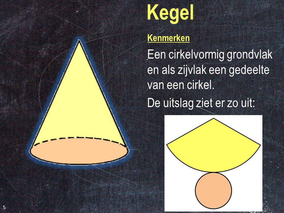 Cilinder Kenmerken Twee cirkelvormige zijvlakken en een rechthoek. Is deze uitslag goed of niet? 4