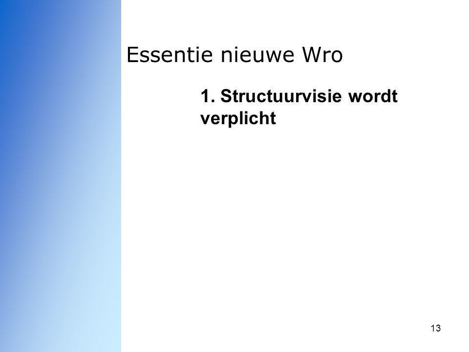 13 Essentie nieuwe Wro 1. Structuurvisie wordt verplicht