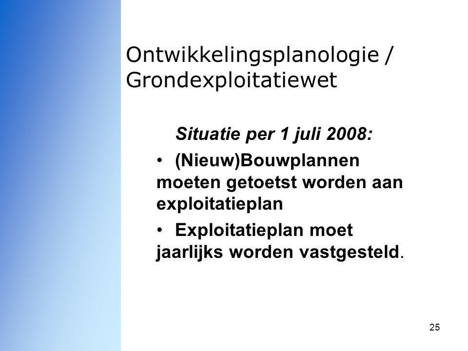 25 Ontwikkelingsplanologie / Grondexploitatiewet Situatie per 1 juli 2008: (Nieuw)Bouwplannen moeten getoetst worden aan exploitatieplan Exploitatiepl