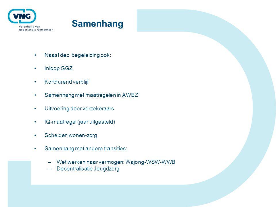 Samenhang Naast dec. begeleiding ook: Inloop GGZ Kortdurend verblijf Samenhang met maatregelen in AWBZ: Uitvoering door verzekeraars IQ-maatregel (jaa