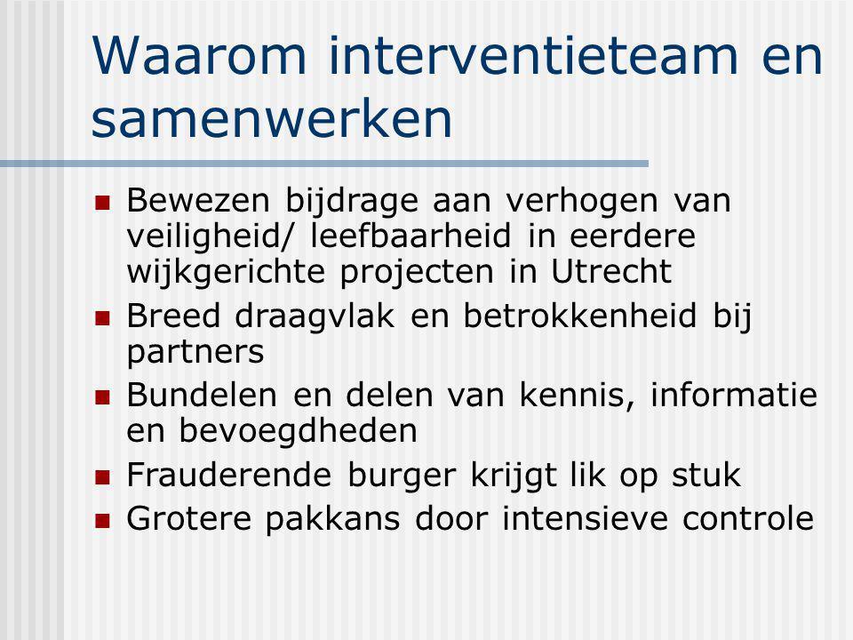 Waarom interventieteam en samenwerken Bewezen bijdrage aan verhogen van veiligheid/ leefbaarheid in eerdere wijkgerichte projecten in Utrecht Breed draagvlak en betrokkenheid bij partners Bundelen en delen van kennis, informatie en bevoegdheden Frauderende burger krijgt lik op stuk Grotere pakkans door intensieve controle