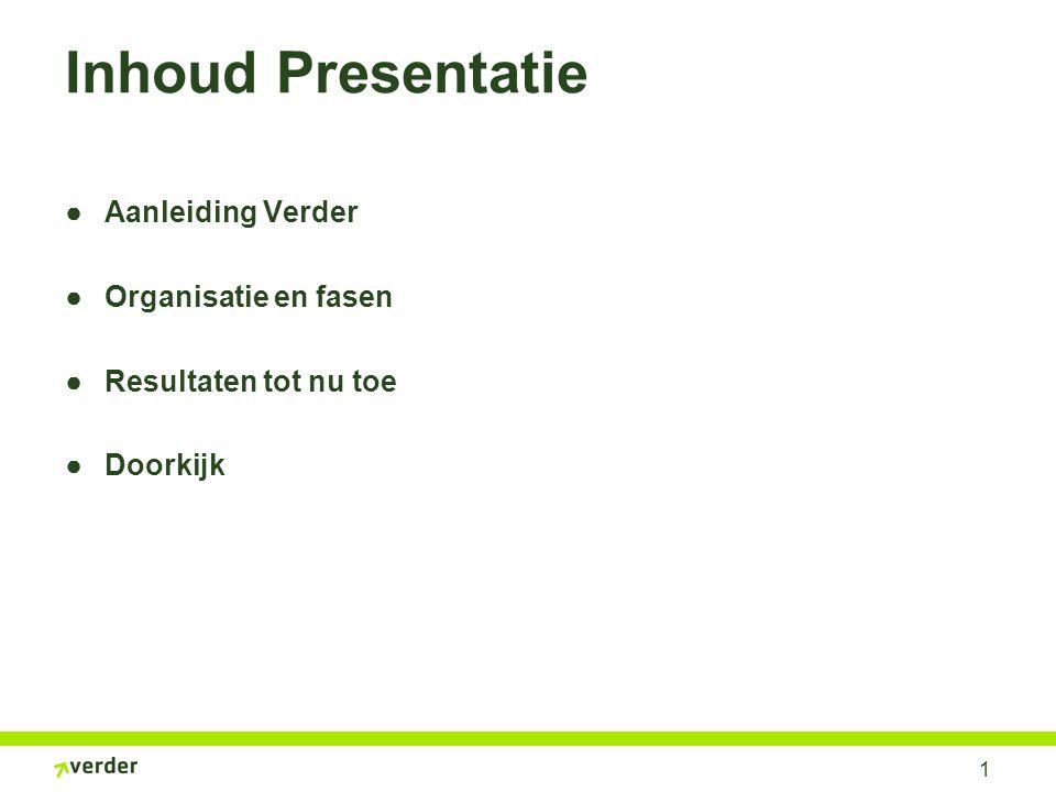 1 Inhoud Presentatie ●Aanleiding Verder ●Organisatie en fasen ●Resultaten tot nu toe ●Doorkijk