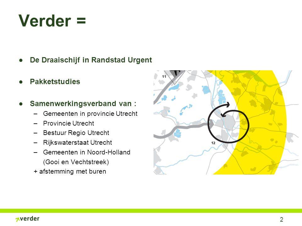 2 Verder = ●De Draaischijf in Randstad Urgent ●Pakketstudies ●Samenwerkingsverband van : –Gemeenten in provincie Utrecht –Provincie Utrecht –Bestuur R