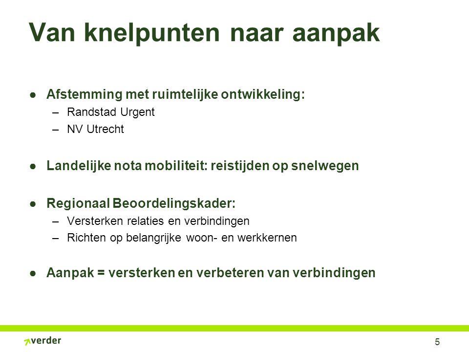5 Van knelpunten naar aanpak ●Afstemming met ruimtelijke ontwikkeling: –Randstad Urgent –NV Utrecht ●Landelijke nota mobiliteit: reistijden op snelweg