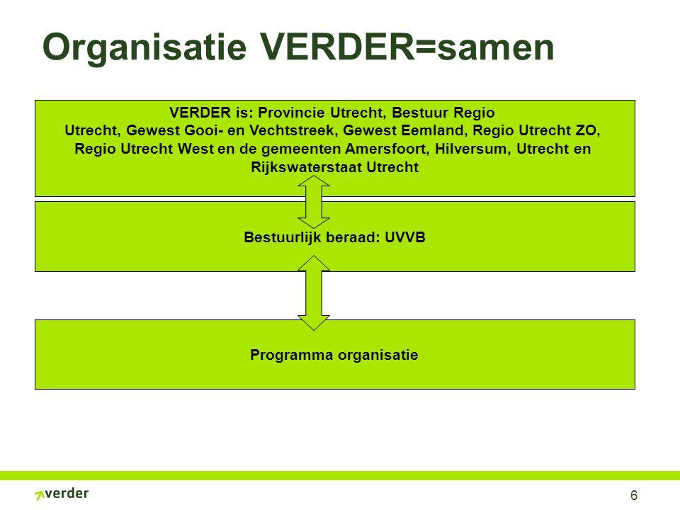 6 Organisatie VERDER=samen VERDER is: Provincie Utrecht, Bestuur Regio Utrecht, Gewest Gooi- en Vechtstreek, Gewest Eemland, Regio Utrecht ZO, Regio U