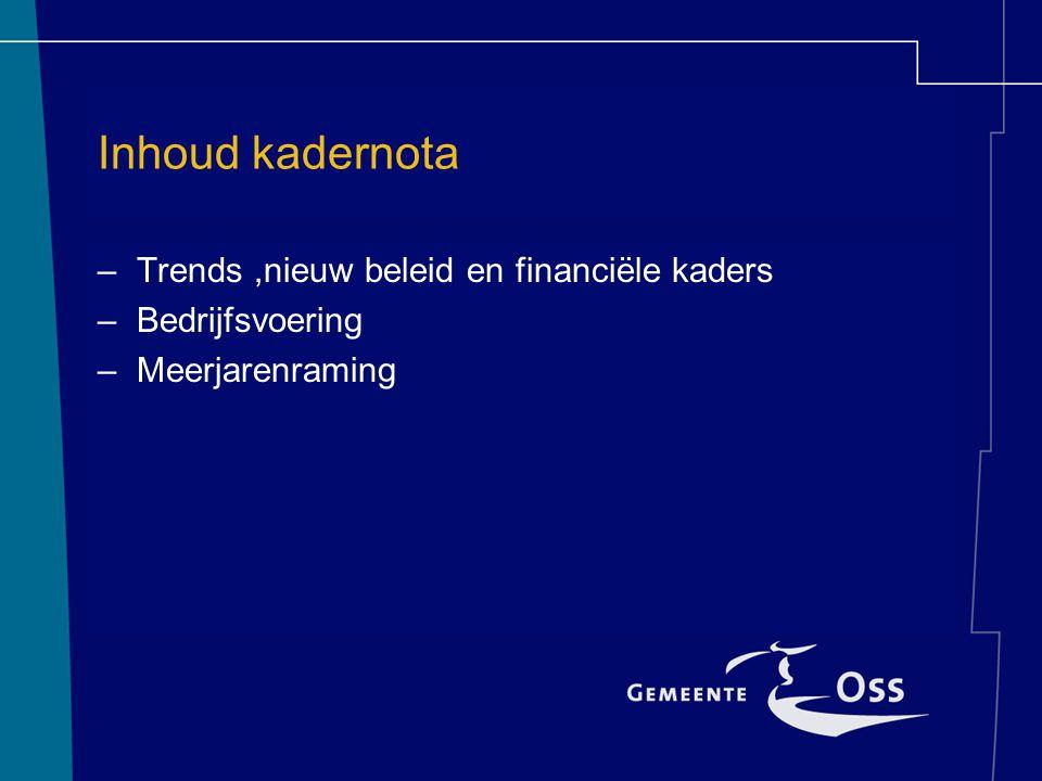 Inhoud kadernota –Trends,nieuw beleid en financiële kaders –Bedrijfsvoering –Meerjarenraming