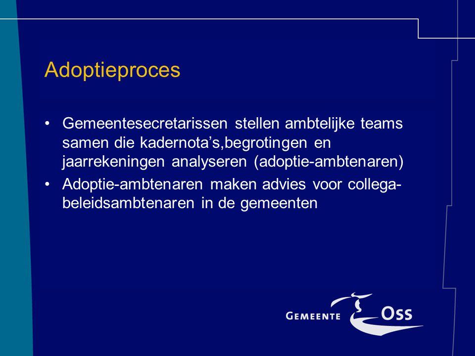 Adoptieproces Gemeentesecretarissen stellen ambtelijke teams samen die kadernota's,begrotingen en jaarrekeningen analyseren (adoptie-ambtenaren) Adoptie-ambtenaren maken advies voor collega- beleidsambtenaren in de gemeenten