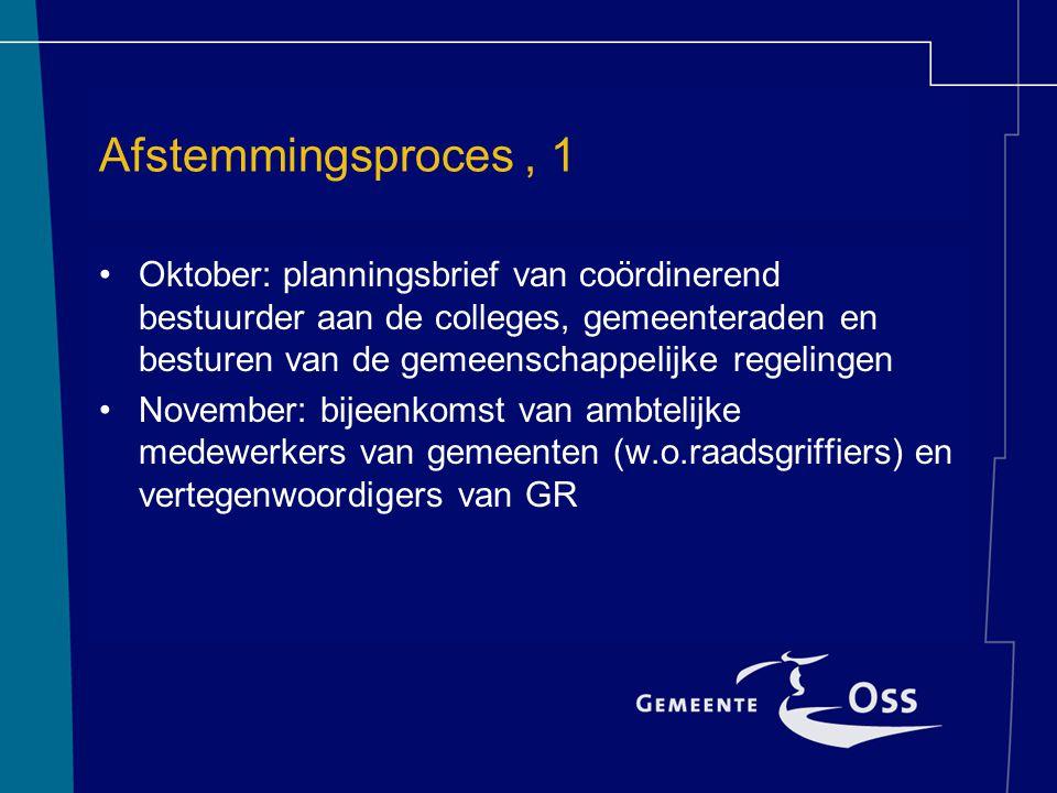 Afstemmingsproces, 1 Oktober: planningsbrief van coördinerend bestuurder aan de colleges, gemeenteraden en besturen van de gemeenschappelijke regelingen November: bijeenkomst van ambtelijke medewerkers van gemeenten (w.o.raadsgriffiers) en vertegenwoordigers van GR