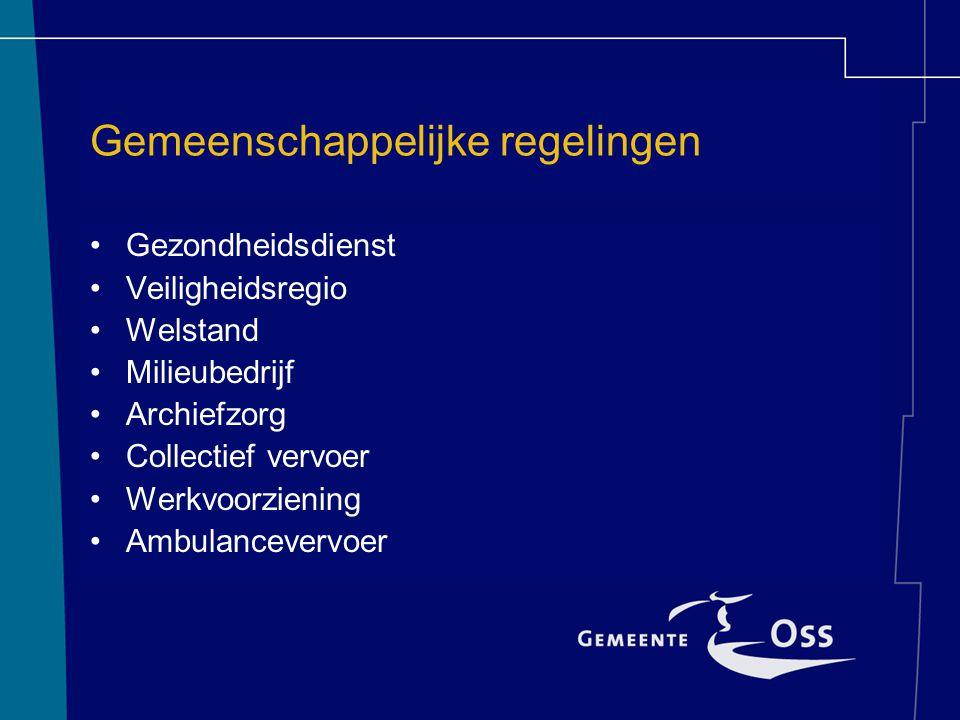 Gemeenschappelijke regelingen Gezondheidsdienst Veiligheidsregio Welstand Milieubedrijf Archiefzorg Collectief vervoer Werkvoorziening Ambulancevervoer