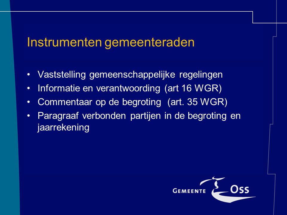 Knelpunten WGR voor gemeenteraden Onvoldoende sturing: verplichte uitgaven Begrotingsproces GR en gemeente lopen niet gelijk Onvoldoende informatie
