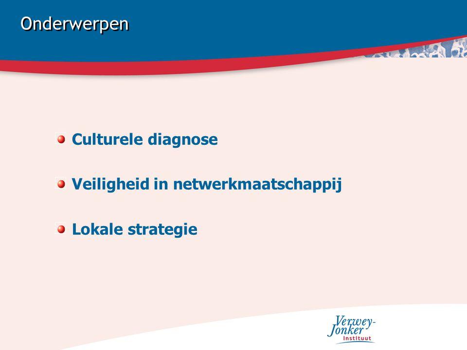 Onderwerpen Culturele diagnose Veiligheid in netwerkmaatschappij Lokale strategie