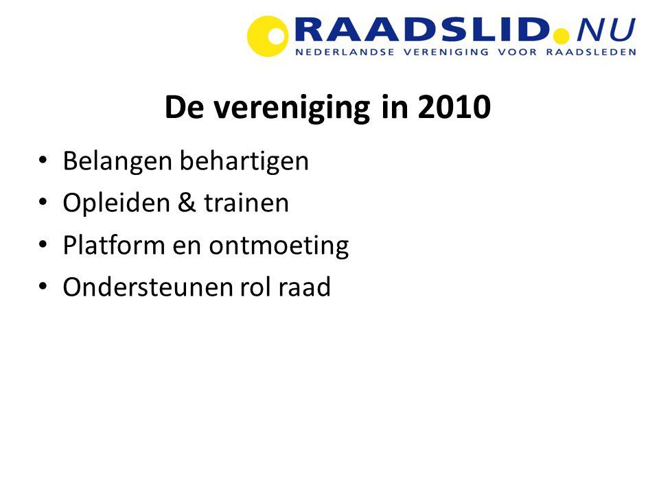 De vereniging in 2010 Belangen behartigen Opleiden & trainen Platform en ontmoeting Ondersteunen rol raad