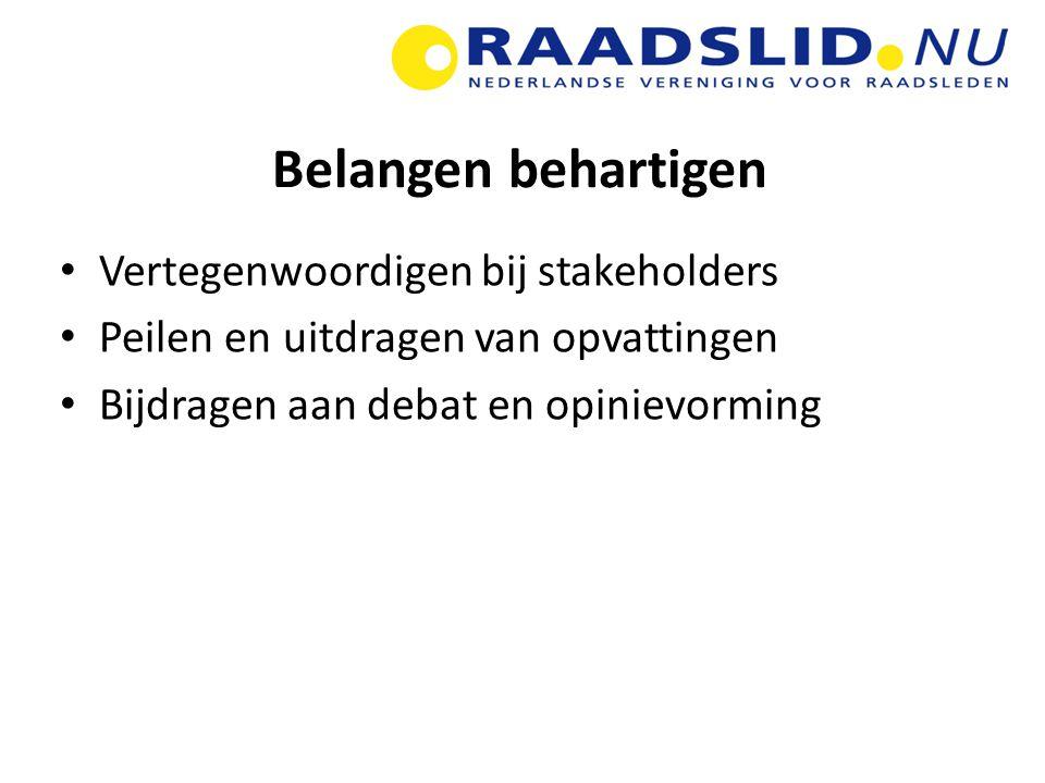 Belangen behartigen Vertegenwoordigen bij stakeholders Peilen en uitdragen van opvattingen Bijdragen aan debat en opinievorming