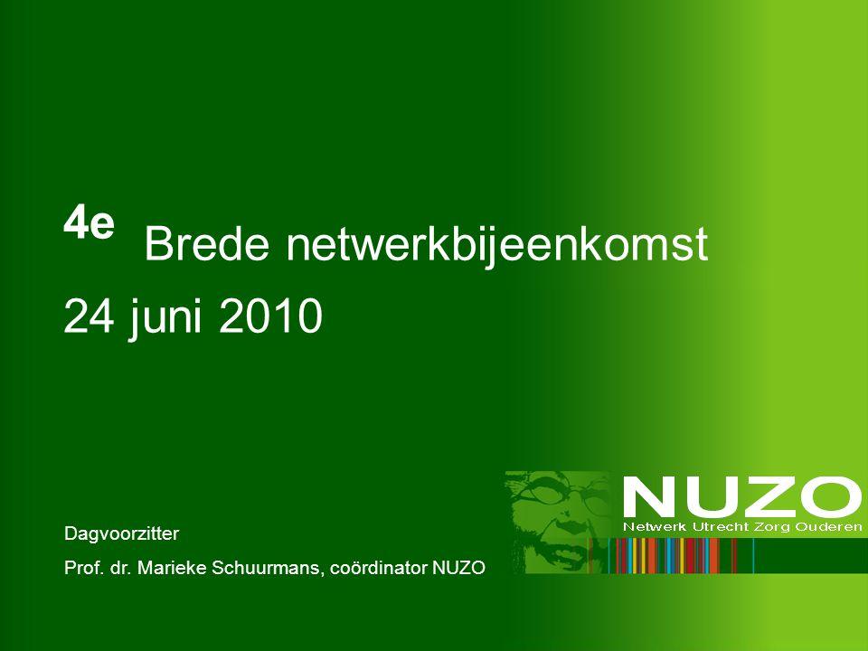 4e Brede netwerkbijeenkomst 24 juni 2010 Dagvoorzitter Prof. dr. Marieke Schuurmans, coördinator NUZO
