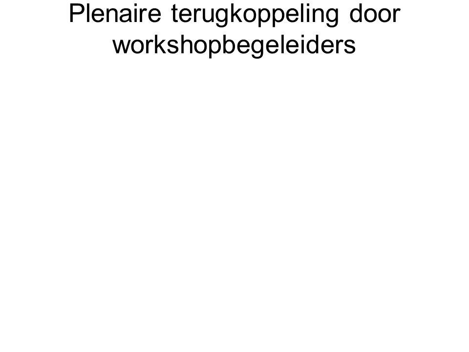 Plenaire terugkoppeling door workshopbegeleiders