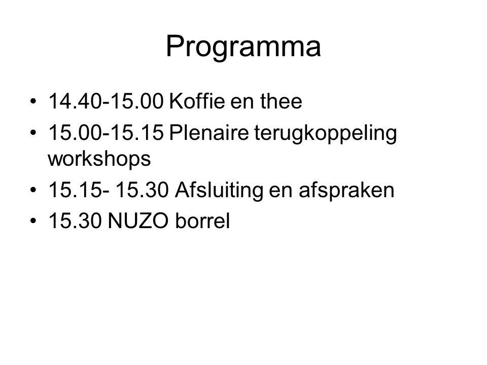Programma 14.40-15.00 Koffie en thee 15.00-15.15 Plenaire terugkoppeling workshops 15.15- 15.30 Afsluiting en afspraken 15.30 NUZO borrel