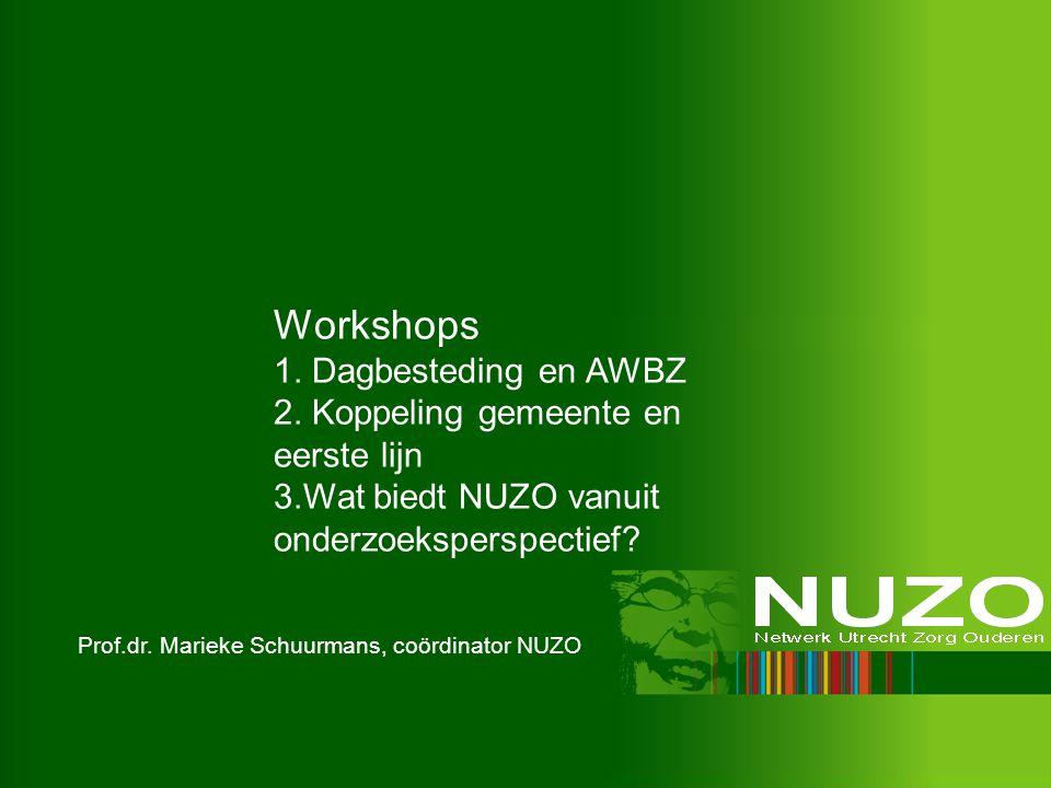 Workshops 1. Dagbesteding en AWBZ 2. Koppeling gemeente en eerste lijn 3.Wat biedt NUZO vanuit onderzoeksperspectief?