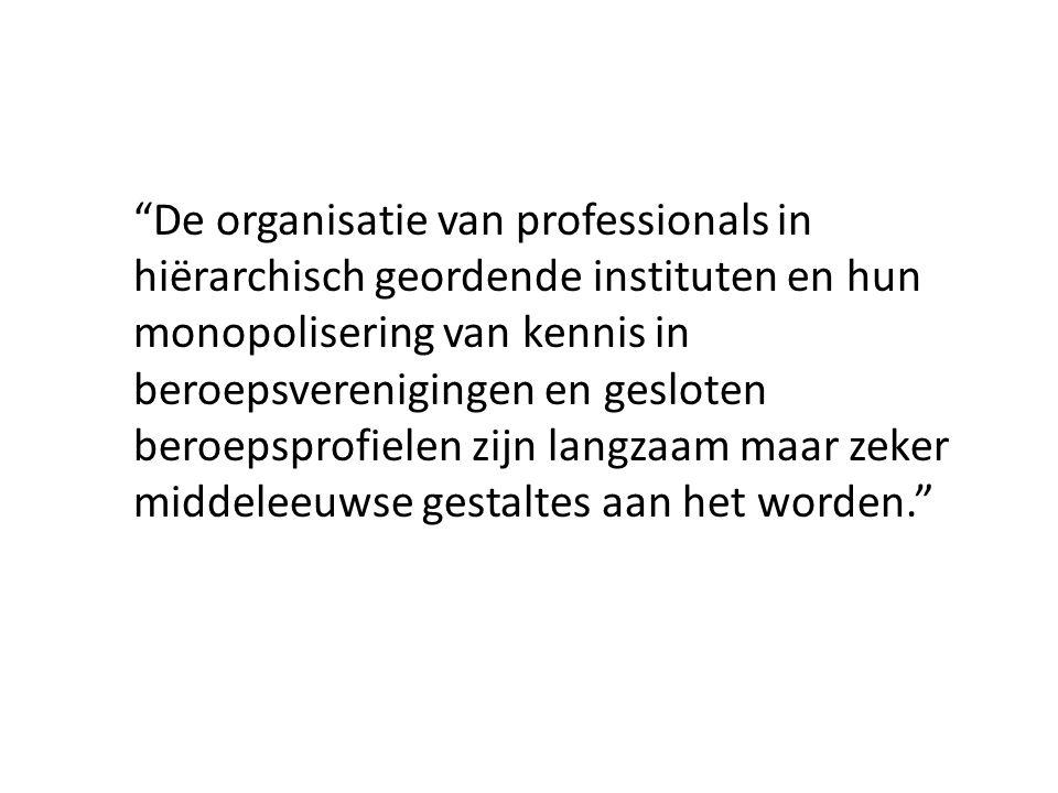 De organisatie van professionals in hiërarchisch geordende instituten en hun monopolisering van kennis in beroepsverenigingen en gesloten beroepsprofielen zijn langzaam maar zeker middeleeuwse gestaltes aan het worden.