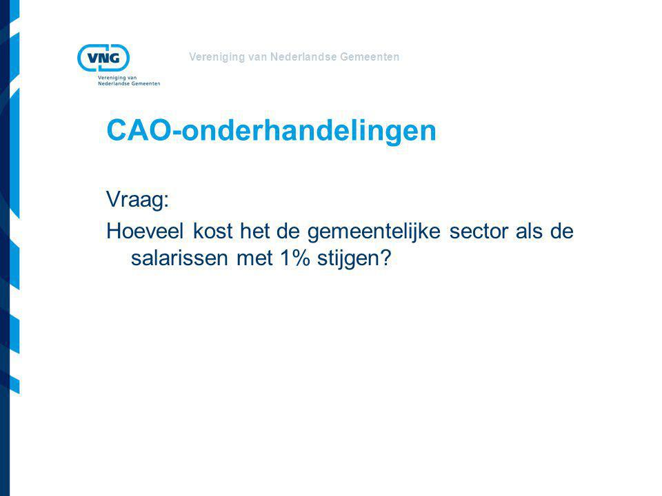 Vereniging van Nederlandse Gemeenten CAO-onderhandelingen Vraag: Hoeveel kost het de gemeentelijke sector als de salarissen met 1% stijgen?