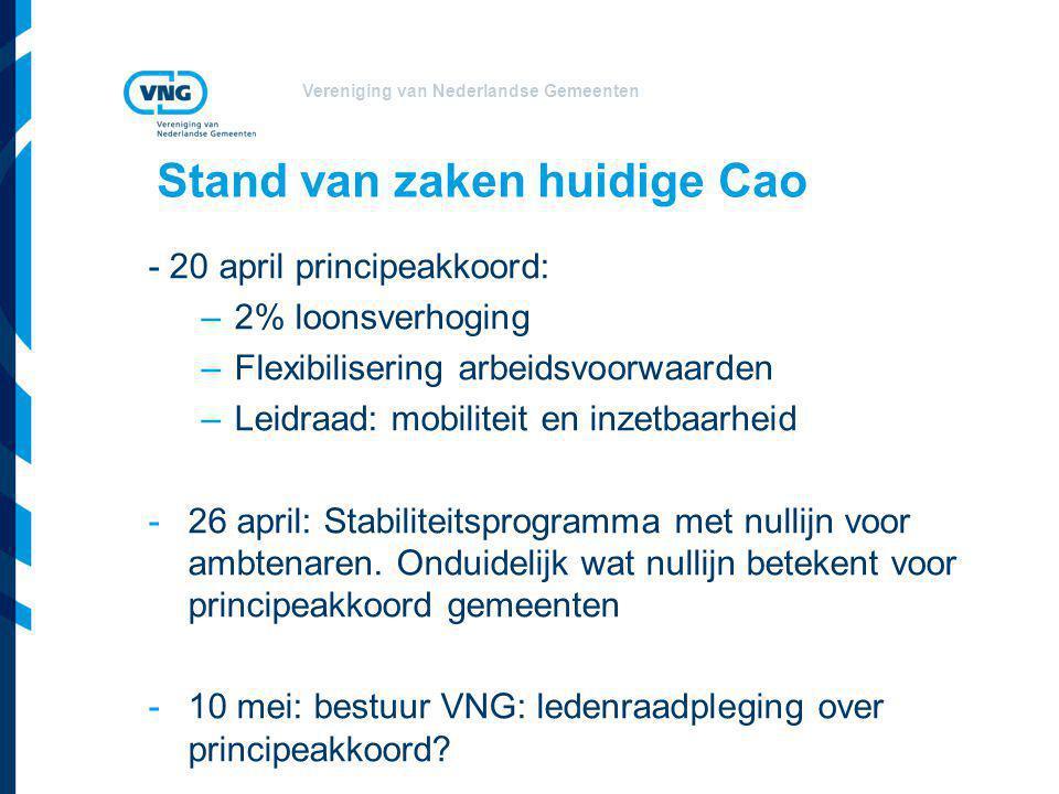 Vereniging van Nederlandse Gemeenten Stand van zaken huidige Cao - 20 april principeakkoord: –2% loonsverhoging –Flexibilisering arbeidsvoorwaarden –Leidraad: mobiliteit en inzetbaarheid -26 april: Stabiliteitsprogramma met nullijn voor ambtenaren.