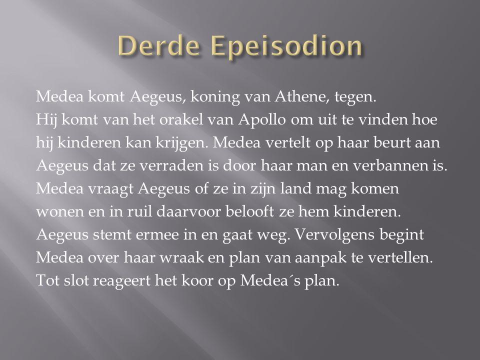 Medea komt Aegeus, koning van Athene, tegen.