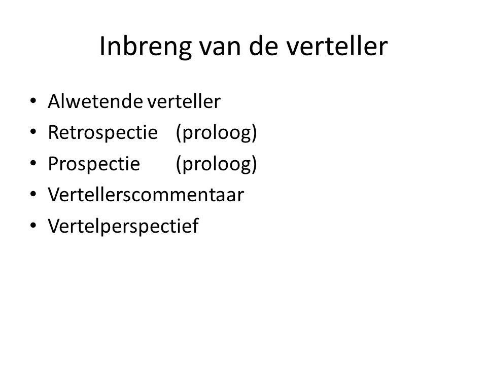 Inbreng van de verteller Alwetende verteller Retrospectie (proloog) Prospectie(proloog) Vertellerscommentaar Vertelperspectief