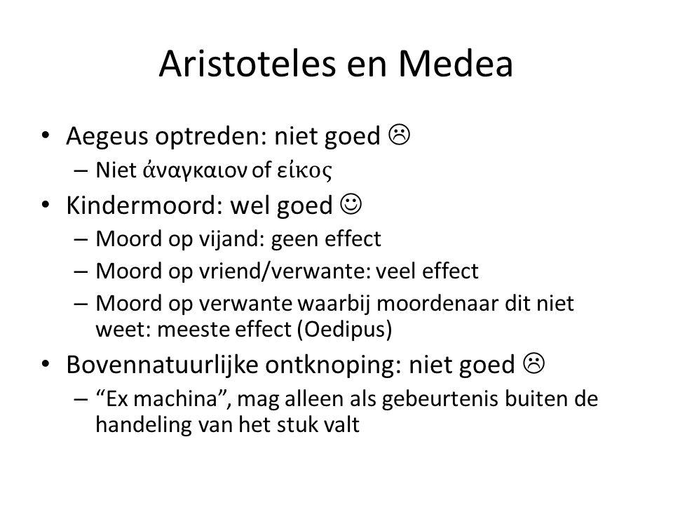 Aristoteles en Medea Aegeus optreden: niet goed  – Niet ἀ ναγκαιον of ε ἰκος Kindermoord: wel goed – Moord op vijand: geen effect – Moord op vriend/v