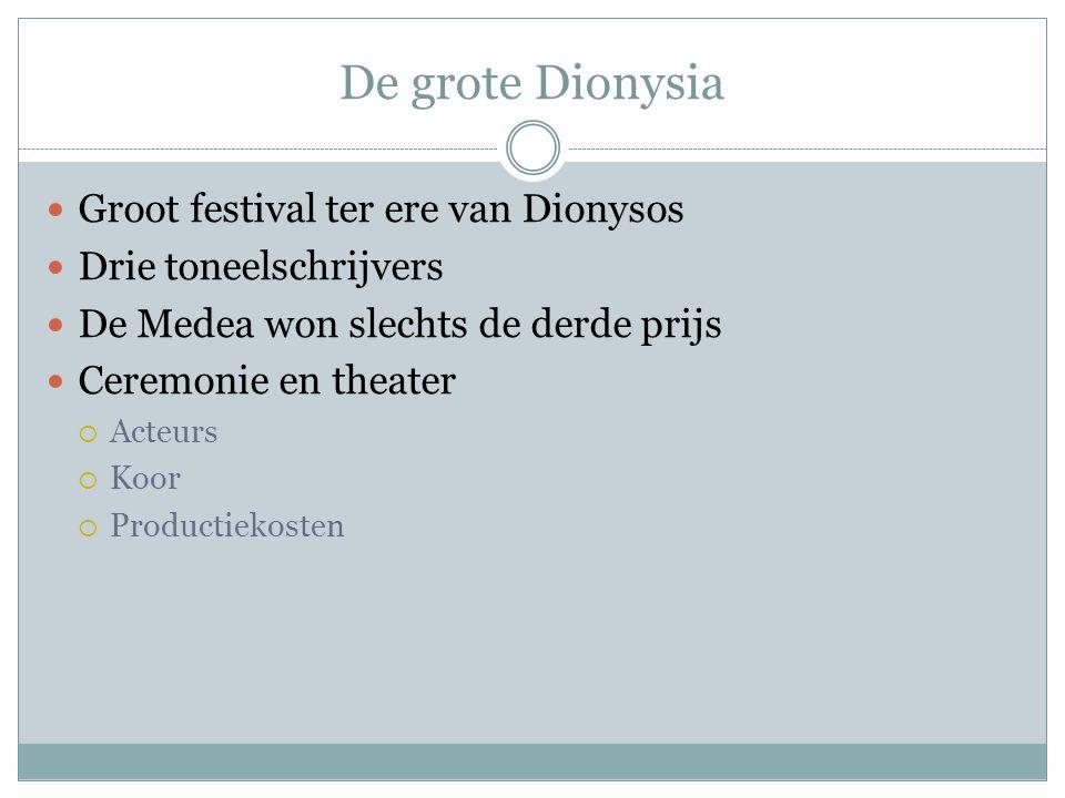 De grote Dionysia Groot festival ter ere van Dionysos Drie toneelschrijvers De Medea won slechts de derde prijs Ceremonie en theater  Acteurs  Koor  Productiekosten
