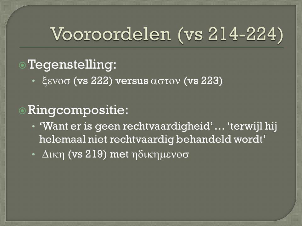  Tegenstelling:  (vs 222)  versus  (vs 223)  Ringcompositie: 'Want er is geen rechtvaardigheid' … 'terwijl hij helemaal niet rechtvaardig behandeld wordt'  (vs 219) met 