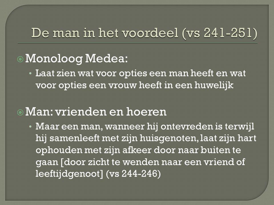  Vrouw: niemand, dus sterven  'Maar voor ons is het noodzakelijk naar één persoon te kijken' (nl de man) (vs 247)  'Niet met tegenzin' (vs 242) = litotes  Vs 250-251: '  …  ' = vergelijking mannen en vrouwen