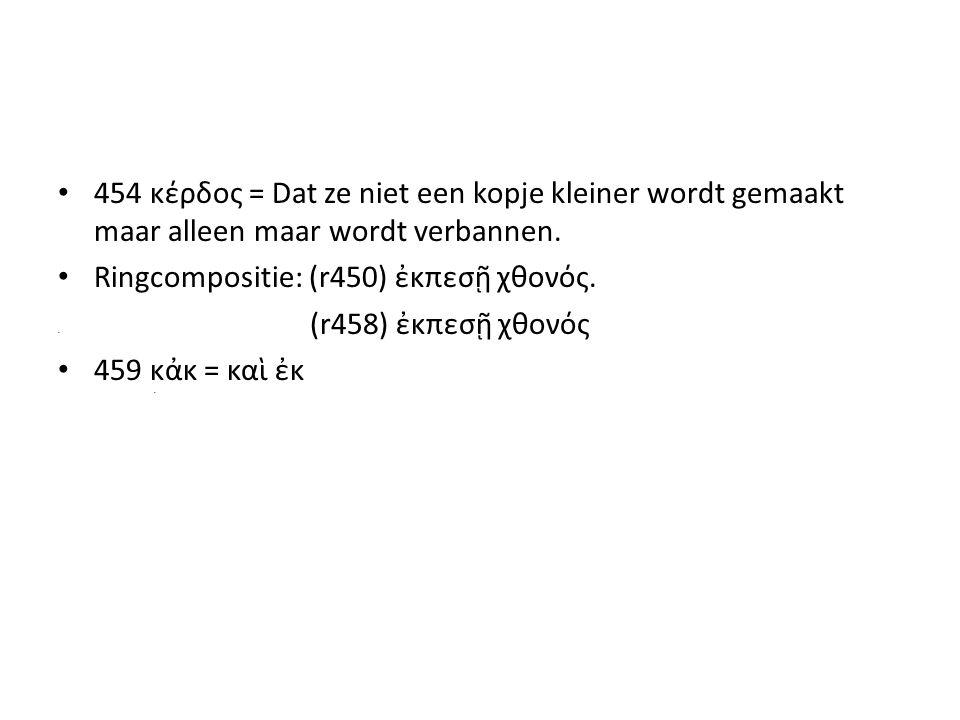 454 κέρδος = Dat ze niet een kopje kleiner wordt gemaakt maar alleen maar wordt verbannen.