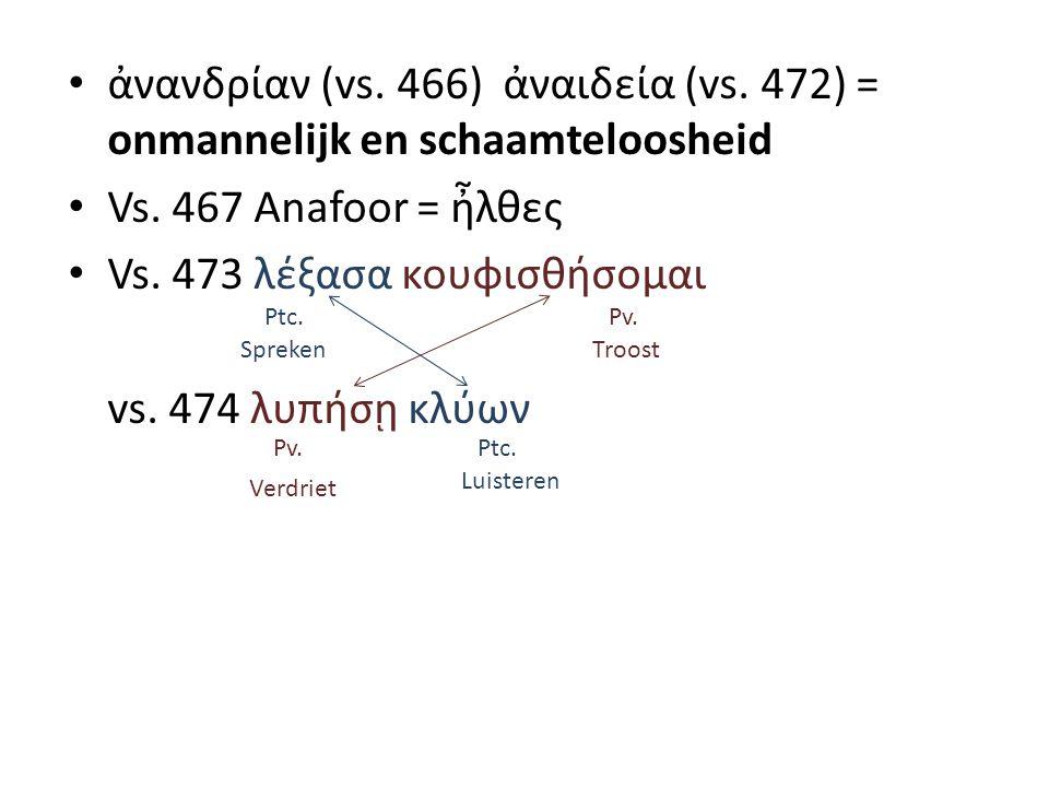 ἀνανδρίαν (vs. 466) ἀναιδεία (vs. 472) = onmannelijk en schaamteloosheid Vs.