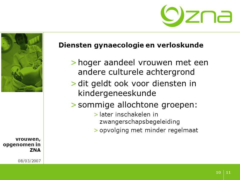 vrouwen, opgenomen in ZNA 08/03/2007 1110 Diensten gynaecologie en verloskunde >hoger aandeel vrouwen met een andere culturele achtergrond >dit geldt